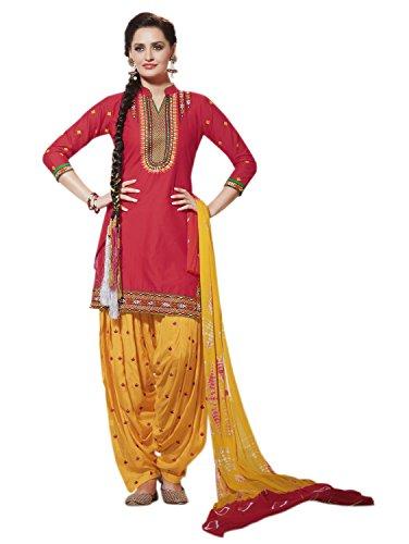 Kvsfab Women\'s Cotton Patiala Salwar Suit (Unstitched Dress Material, Red & Yellow)
