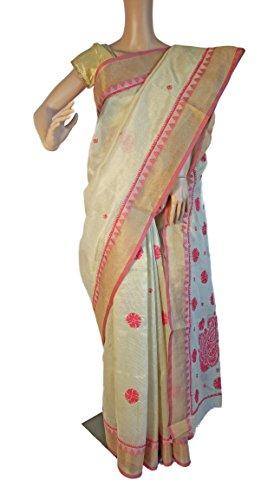 Fashion Fabric Kota cotton Beige Red hand embroidery Chikankari Saree with zari...