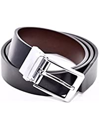 efbe95a667a00 Reversible Belt, Black Leather One Side, Brown the Other, Chrome Twist  Mechanism Buckle, 34mm Wide, Nicely Gift Boxed, Smart or Casual to Fit…