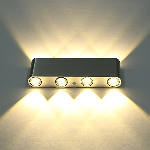 Lightess moderno in alluminio a 8 luci da parete Applique luce 8W Up ...