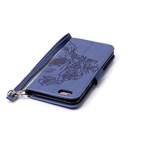 iPhone 6 6S Hülle,iPhone 6 6S Ledertasche Brieftasche im BookStyle,Cozy Hut Handyhülle iPhone 6 6S [Flügel] Muster PU Leder Tasche Schutzhülle Folio Magnetverschluss Flip Case Wallet Taljereep Handyta Dunkelblau Schädel