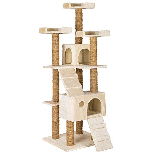 TecTake Katzen Kratzbaum Katzenbaum mittelhoch | Stämme komplett mit Kokosseil umwickelt | 2 Höhlen – diverse Farben – (Beige | Nr. 402190) - 2
