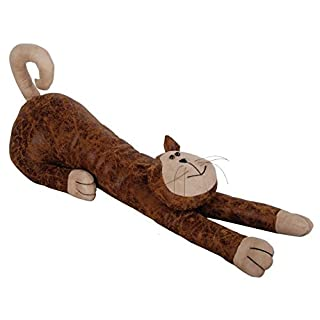 Faux Leather Suede Animal Draught Excluder Heavy Door Stop or Window Draft Guard Cushion (Cat)