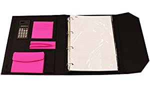 Nu Elite B5 en PU Rose Format Folio Classeur conférencier-bloc avec calculatrice