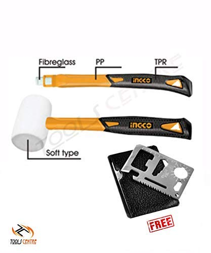 Toolscentre Ingco White Rubber Mallet Hammer 8 Oz/225 G With Fiber Glass Handle And 11 In 1 Pocket Multi-Tool