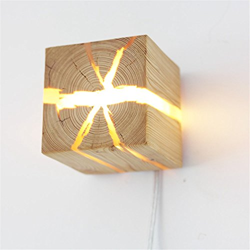 Hölzerne Riss Wand Lampen , LED Kreativ Wandleuchte Klein Nachtlicht,Holz Wandleuchte LED Nachttischlampe Innenkorridor Lichter 8 * 8 * 8 Cm , Warmes Weiß ( Color : Pine wood ) (Hölzerne Lampe)