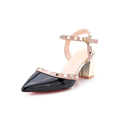 fan4zame Sandalen Frauen Spitz Heels Heels Nieten Schnallen Leder Schuhe Frauen High Heels 7,5cm Cool bequem atmungsaktiv Sandalen 37 black H