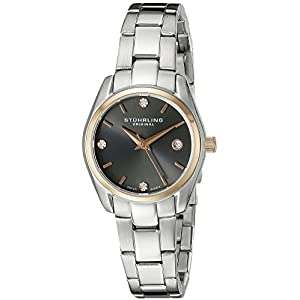 Stuhrling Original Women's Quartz Watch with Grey Dial Analogue Display and Silver Stainless Steel Bracelet 414L.04