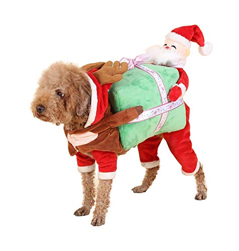 Iris Sprite Weihnachtskostüm Haustier Katze Hunde Anzug mit Kappe Santa Claus Kostüm Hoodie SAMT Mantel Jumpsuit Kleiner Hund Kleidung (M (Rückenlänge 13.8 '', Gewicht - Santa Claus Anzug Kostüm