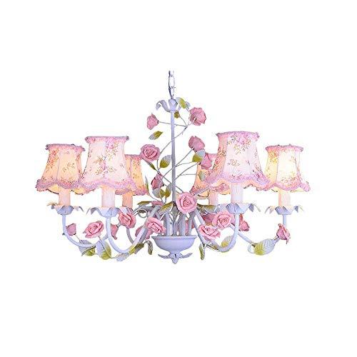 Xiao Yun ☞ Land Rustikale Wohnzimmer Kronleuchter Floral Stoff Lampenschirm Metall Blatt Mit Rosa Keramik Rose Schlafzimmer Hängelampe Bartheke Esszimmer Decke Anhänger Beleuchtungskörper ☜ -