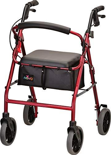 NOVA Medical Products Zoom Rolling Walker, 24 Inch, Red by NOVA Medical Products