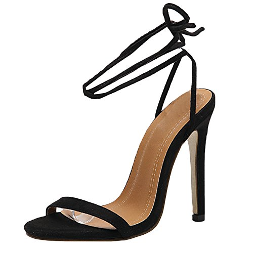 Oasap Women's Peep Toe Ankle Lace-up Solid High Heels Sandals Black