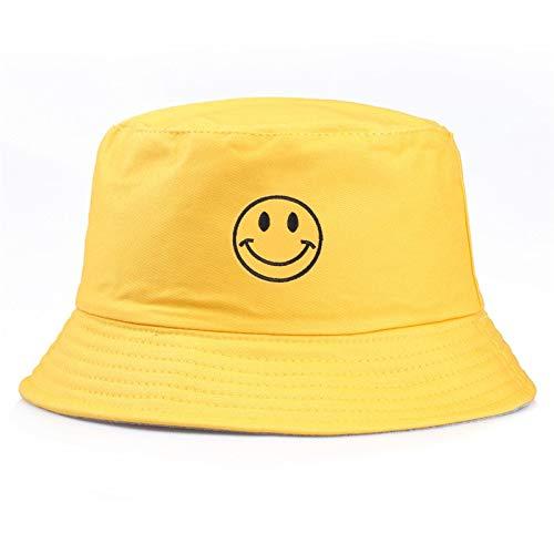 Xinqing Beiläufige Stickerei-gelber Smiley-Gesichts-männliche und weibliche Fischer-Hut-Art- und Weisefreunde-Sonnenschutz-Kappe im Freien, gutes Material, praktisch und haltbar (Color : Yellow)