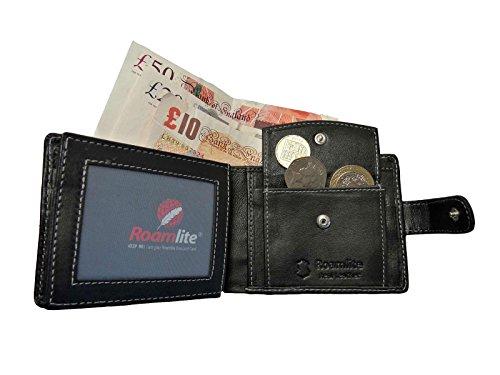 Vera Pelle Portafoglio da uomo con portamonete 6carte di credito Roamlite RL507, Black No Gift Box (nero) - RL507K