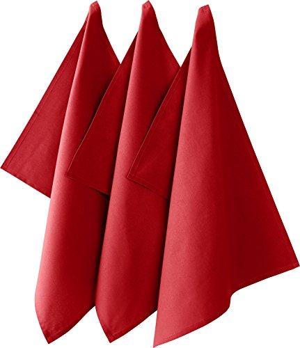 REDBEST Geschirrtuch, Küchentuch 3er-Pack 100% Baumwolle rot Größe 50x70 cm - saugstarke, strapazierfähige Qualität, mit Aufhängung (weitere Farben) (Rot Geschirrtuch)