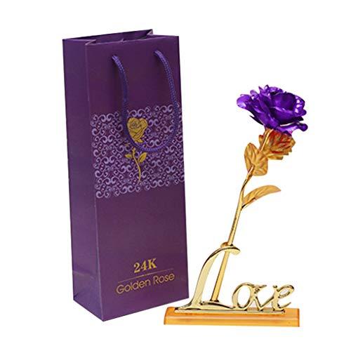 e4b0aeaeb3cad Zerama Wedding Valentine 's Day Rose Gold Foil Stem Leaf Birthday New Year  Gifts Decorative Flowers Ornament