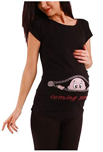 M.M.C. Coming Soon Premaman Abbigliamento Donna Magliette Premaman T Shirt Divertente Gravidanza Maniche Corte maternità