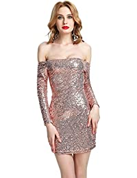 JOTHIN Damen Langarm Glitzer Clubwear Schulterfrei Bodycon Kleider Pin-up  Festkleid Einfarbige Minikleid Bandeaukleider Pailletten b593bb1896