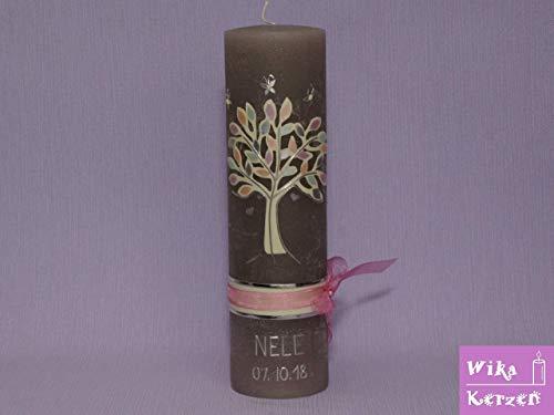 Vintage Taufkerze Kommunionkerze Lebensbaum und Satin schleifenband Rosa 25x7 cm für Mädchen auf...