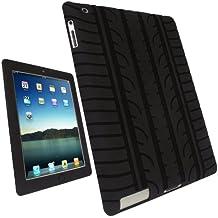 igadgitz Negro Case Neumático Tyre Silicona Funda Cover Carcasa para Apple iPad 2 & nuevo iPad 3 16/32/64GB + Pantalla Protector