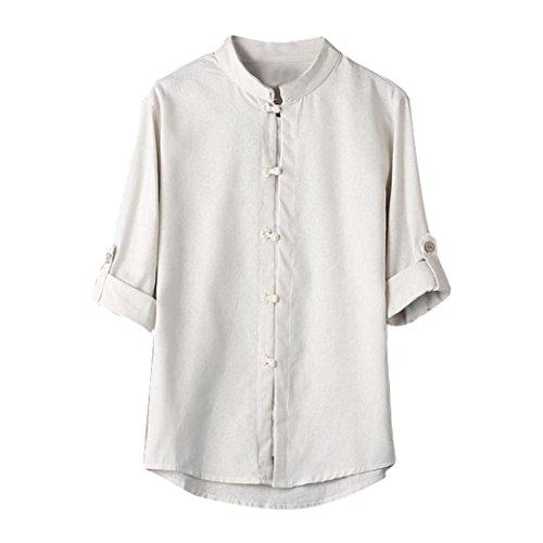 Amlaiworld Uomo Classico Stile Cinese Kung Fu Camicia Top Tang Suit 3/4 Manica Camicetta