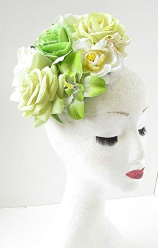 Vert Blanc Ivoire Rose Fleur Bibi Serre-tête motif floral vintage Races Hat A65 * * * * * * * * exclusivement vendu par – Beauté * * * * * * * *