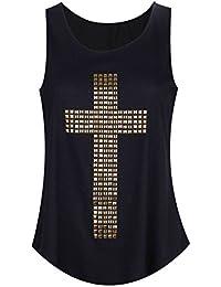 Taina Metallic Stud Cross Vest Top S/M