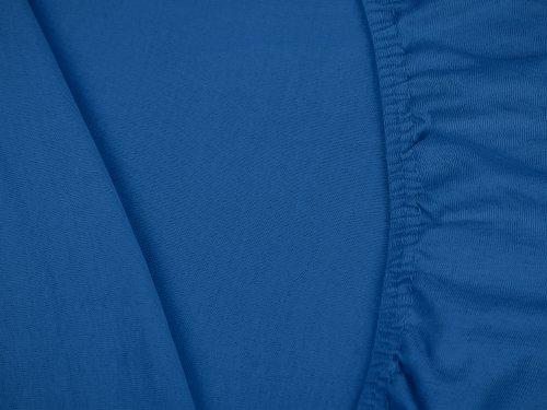 npluseins klassisches Jersey Spannbetttuch - erhältlich in 34 modernen Farben und 6 verschiedenen Größen - 100% Baumwolle, 90-100 x 200 cm, royalblau - 5