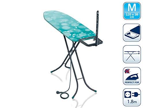 Leifheit Bügeltisch Classic M Basic Plus, für Dampfbügeleisen geeignet, Bügelbrett mit dampfdurchlässiger Bügelfläche, Dampfbügelbrett mit Steckdose, Limited Edition grau lagoon