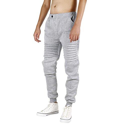 Pantalones de hombre Casual Ropa deportiva Holgado Persona que practica jogging Pantalones Baile Pantalones deportivos LMMVP (S, Gris)