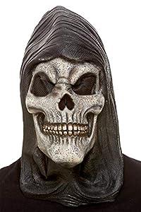 Smiffys 52033 - Máscara de látex con capucha, diseño de esqueleto, unisex, color blanco