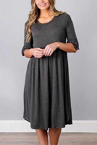 Frauen Elegant - Ärmel Passen Und Fackel Ruched Swing Shift - Kleid Grey