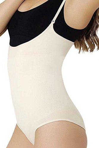 Formeasy Damen Shapewear Formwäsche mit eigenem BH tragen,Miederbody Body Shaper Bodyformer, stark Formende Unterwäsche mit Bauchweg Effekt - Taillenformer (L, Beige)