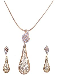 Pushti Gold Brass Pendant Set For Women (PF_009)