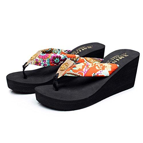 SHANGXIAN plage pantoufles de femmes non-dérapant Boucle Wedge Sandal Black