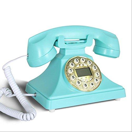 HTDZDX Blau Classic Retro 1970er Jahre Vintage-Stil Festnetz Telefon verfügt über traditionelle Bell Ring und Push Button Dial (1970er-taste)