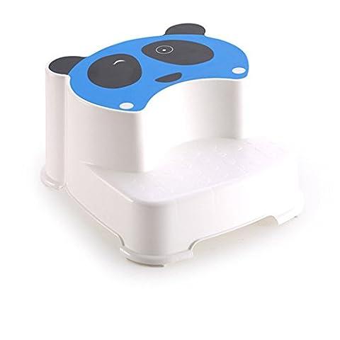 Reizendes Panda Muster Kinder Doppelt Stufenhocker | Fußböden für Jungen und Mädchen Bad WC Training | Anti-Slip Kinder Fuß Hocker (Blau)