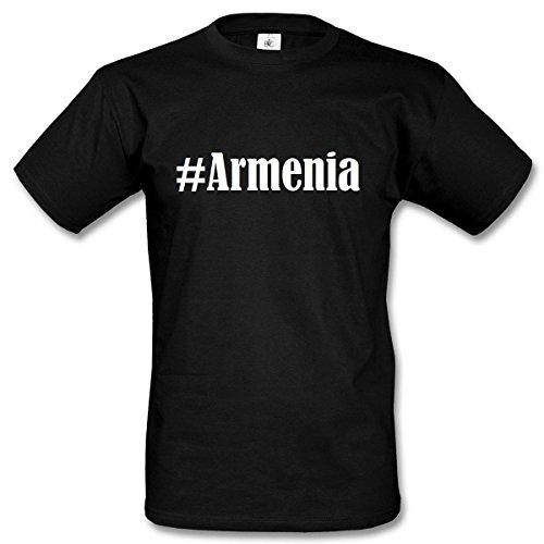 T-Shirt #Armenia Hashtag Raute für Damen Herren und Kinder ... in den Farben Schwarz und Weiss Schwarz