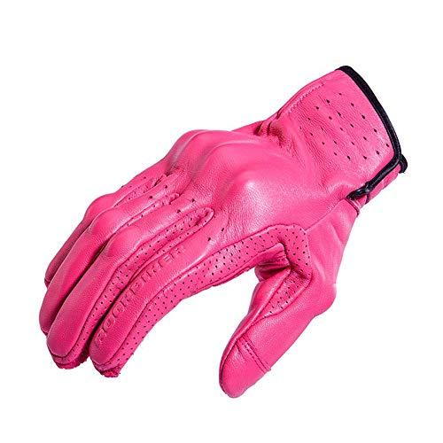 Preisvergleich Produktbild M-TK Handschuhe Motorrad Frauen Reiten Leder Touchscreen Rutschfeste Drop Proof für Radfahren Jagd Wandern Klettern Outdoor Sports Gear, Pink, XL
