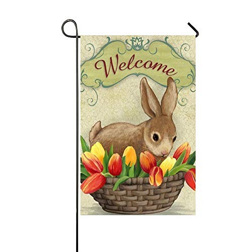 r Rabbit Sit In The Tulip Flower Basket Garden Flag Holiday Decoration Double Sided Flag 12.5 x 18 Inch ()