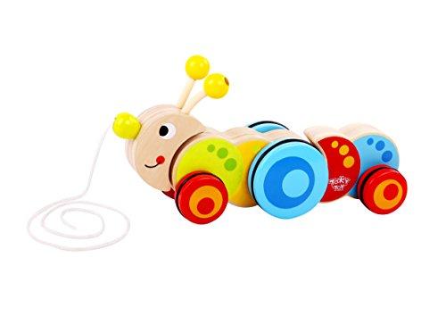 Tooky Toy - Oruga para Arrastrar - Juguete Educativo de Madera a Partir de 18 Meses