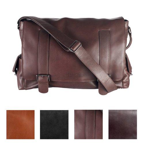 "FEYNSINN Messenger bag ASHTON - Umhängetasche XL fit für 15.4"""" - Laptoptasche - echt Leder grau braun"