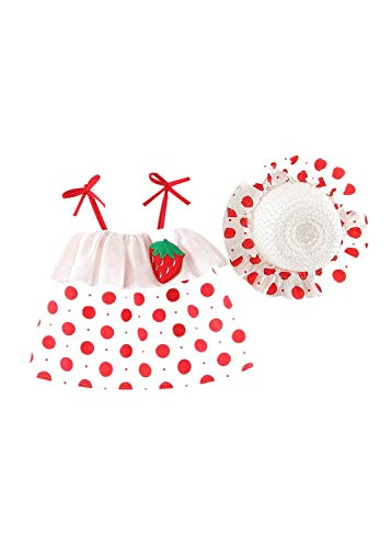 ling Kleid für Kinder mit Polka Dot Kirschdruck Prinzessin Dress + Straw Hat Kinder Blume Spleißen Mesh Cosplay Kostüm Dance Party Rock Sommer Babybekleidung Kleider Suit ()