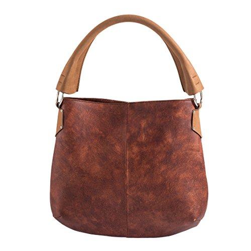 Tilla...Le Borse , sac bandoulière femme terra di siena manico marrone