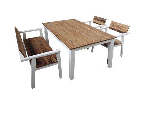 Garten Set bestehend aus einem Tisch 150x90, eine Bank 122cm und 2 Sessel rustikal und weiß, Teakholz, stabil, hochwertig langlebig