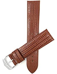 Bandini 18mm Italian Leather Watch Strap Band - Tan - Slim - Glossy