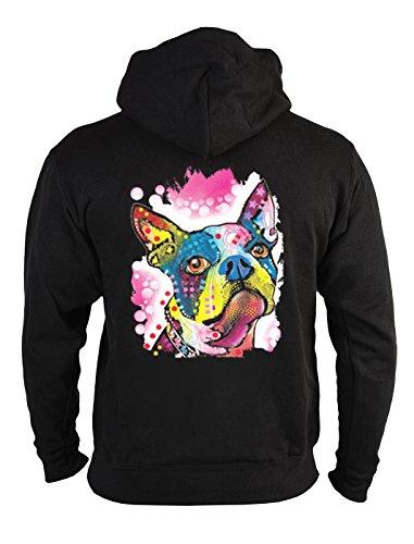 Boston Terrier Kapuzen Sweatshirt (Zip-Hoodie/Kapuzen-Sweatshirt-Jacke mit Hunde-Neon-Motiv: Boston Terrier lässiger Look)