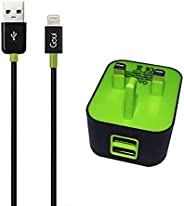 Goui 2 USB Ports Wall Charger with Lightning USB Cable, Black