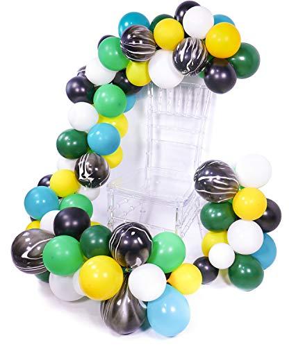 PuTwo Luftballons Dschungel, 105 Stück Ballon Safari Satz Luftballon Türkis Gelb Luftballons Luftballons Schwarz Luftballons Weiß Luftballons Grün Marmor Luftballons für Dschungel Party, Safari Party