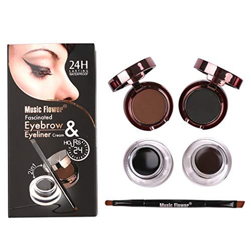 Kapmore Le kit sourcils 4 en 1 comprend des outils de maquillage pour pinceaux à paupières sourcils gel